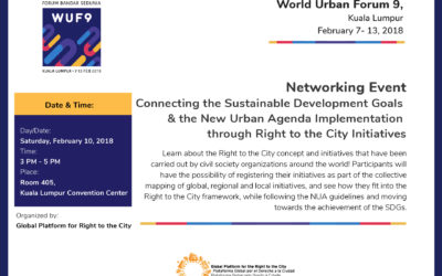 World Urban Forum 9 – Operationalizing the Right to the City: how small-scale projects contribute to the implementation of the NUA and the SDGs.