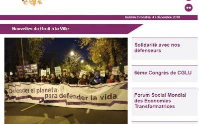 Nouvelles du Droit à la Ville: Décembre 2019