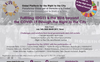 Fulfilling SDG11 and the NUA beyond the pandemic through the Right to the City