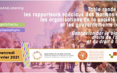 Table ronde entre rapporteurs spéciaux des Nations Unies, organisations de la société civile et gouvernements locaux